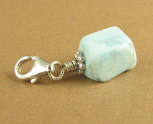 Larimar clip-on charm. Light blue stone. Sterling silver 925. Handmade.