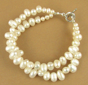 Pearl chunky double bracelet. Real pearls. Sterling silver 925. Handmade.