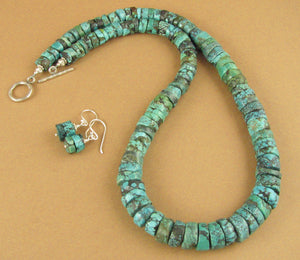 Turquoise necklace and earrings. Chunky. Green/blue. Sterling silver. Handmade.