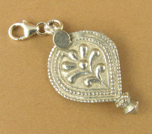 Old antique silver large clip-on charm. Indian tribal pendant. Rajasthan. 925.