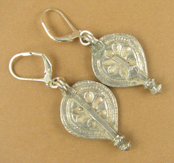 Indian tribal silver earrings. Old/antique. Large. Fine & sterling silver 925