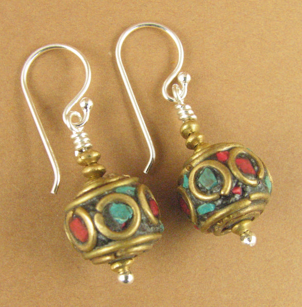 Tibetan mala bead earrings. Blue, red, brass & sterling silver 925. Handmade.