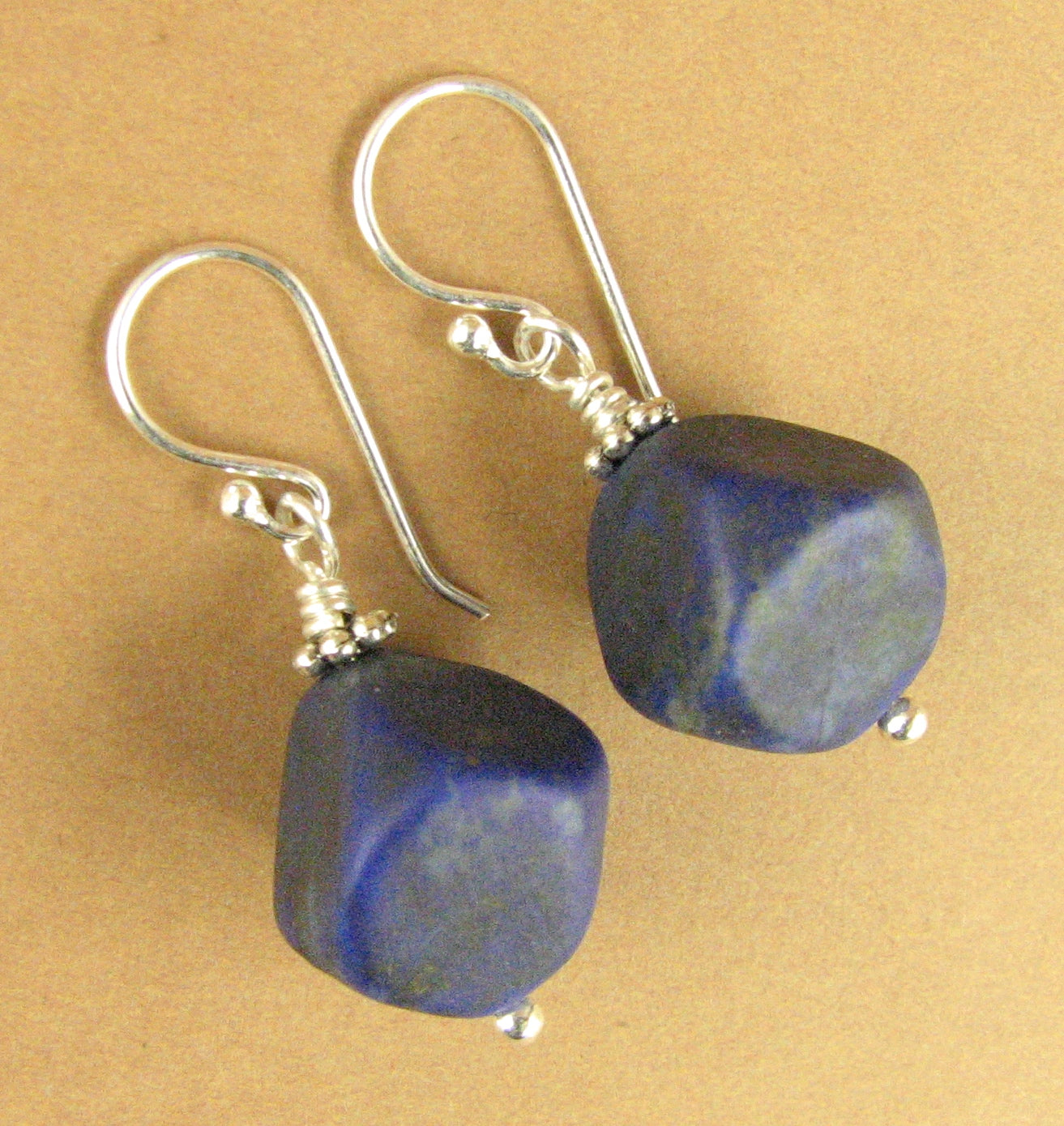 Lapis lazuli earrings. Chunky. Deep blue. Sterling silver 925. Handmade.