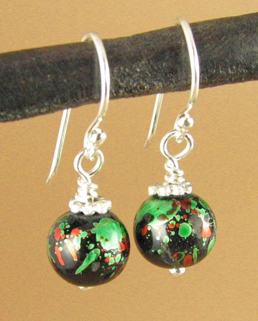 Tibetan mala bead earrings. Red, green, black. Lacquer. Sterling silver 925. Handmade.