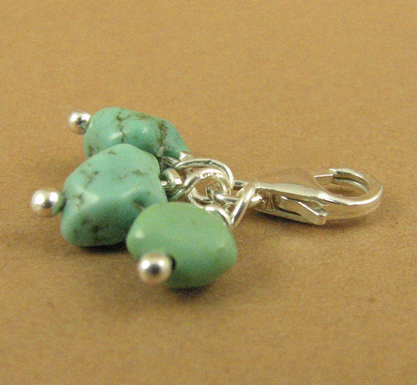 Turquoise stone cluster clip-on charm. Blue-green.Sterling silver 925. Handmade.
