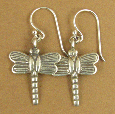 Dragonfly hanging earrings. Large. Fine & Sterling silver 925. Handmade.