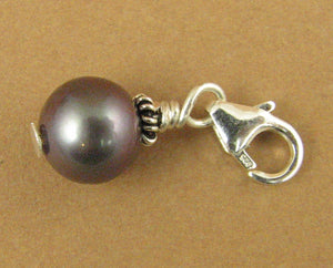 Black pearl clip on charm. Real pearl. Sterling silver 925.