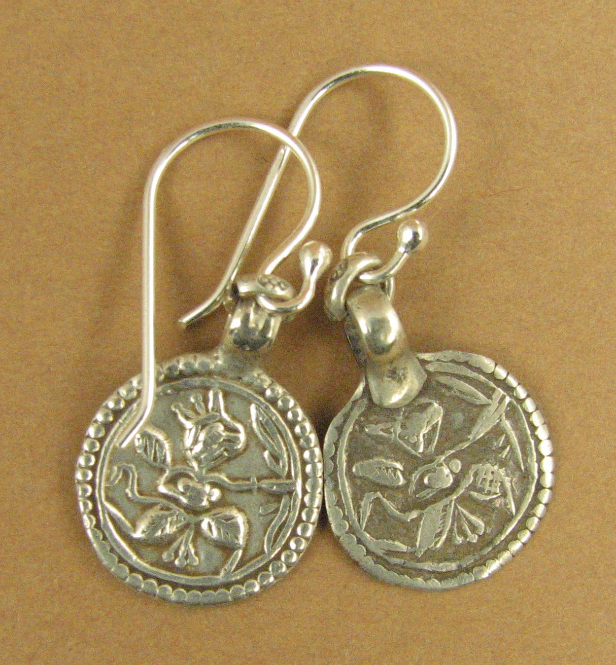 Indian tribal silver earrings. Small.Old/antique. Hanuman protection amulet. 925
