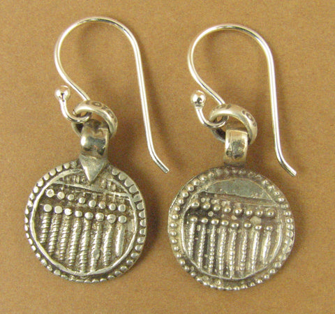 Indian tribal silver earrings. Old/antique. 7 sisters. Round.Sterling silver 925
