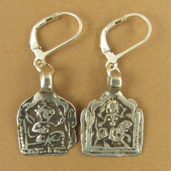 Indian tribal silver earrings. Old/antique. Durga/Hanuman.Sterling silver 925