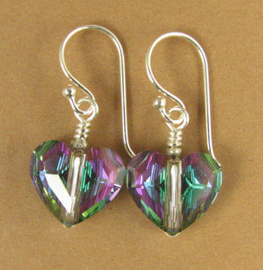 Crystal heart earrings.Multi coloured. Silver 925. Made w/Swarovski Elements