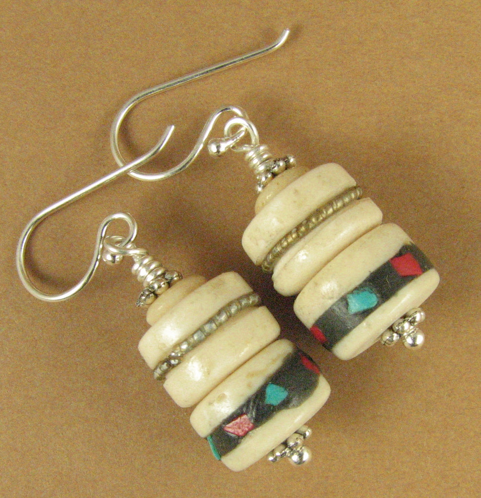 Tibetan mala bead earrings. White red turquoise. Sterling silver 925. Handmade.