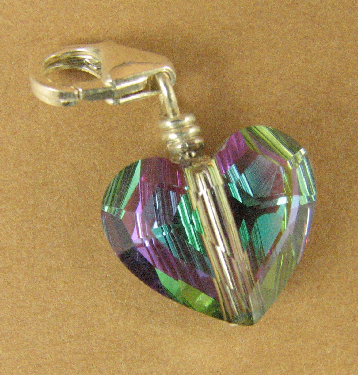 Heart crystal clip on charm. Sterling silver 925. Made w/ swarovski elements.