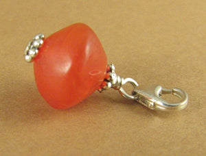 Carnelian clip-on charm. Orange stone. Sterling silver 925. Handmade.