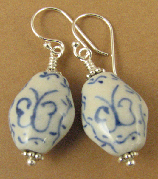 Chinese ceramic bead earrings. Butterfly. Sterling silver 925. White, blue.