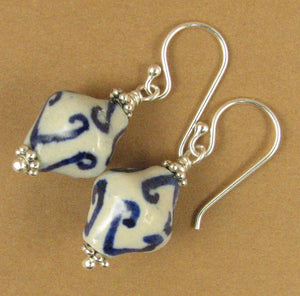Chinese ceramic bead earrings. Sterling silver 925. White, blue. Handmade.