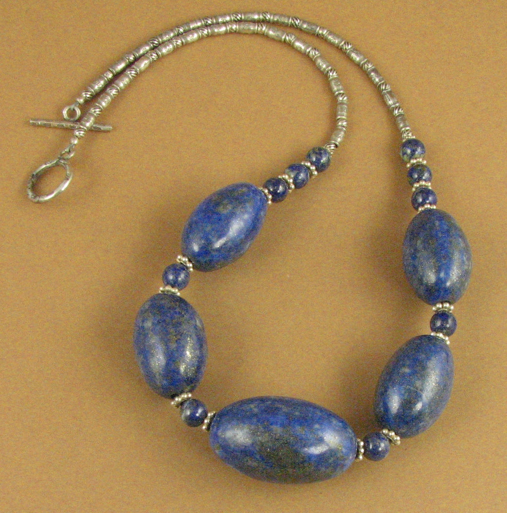 Sodalite and silver necklace. Chunky. Blue gemstone. Sterling silver 925.