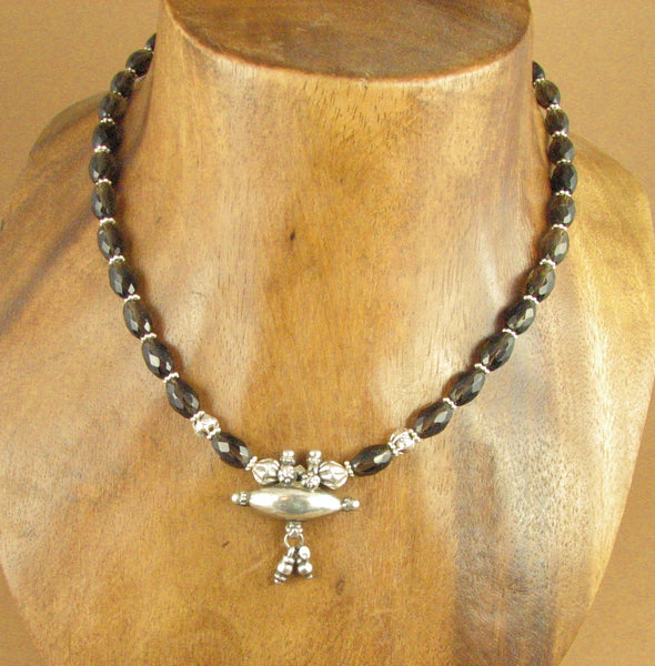 Indian old / antique silver and smokey quartz necklace. Prayer box. Silver 925