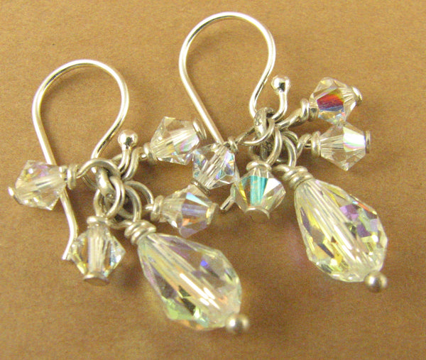 Aurora borealis cluster earrings w/Swarovski elements. Rainbow. Sterling silver.