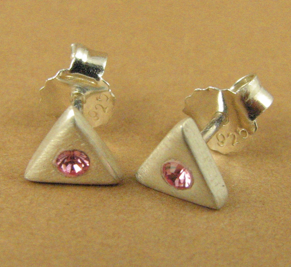 Tiny crystal sparkly stud earrings. Swarovski elements. Pink Sterling silver 925