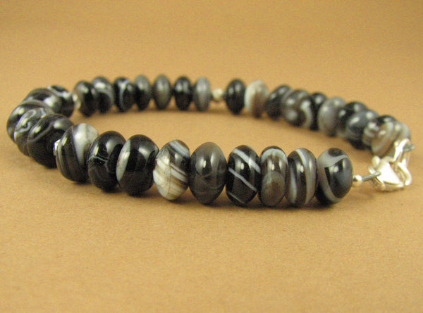 Agate stone bracelet. Black white and brown. Sterling silver 925. Handmade.