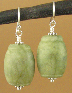 Apple jasper earrings. Green, barrel shape. Sterling silver 925. Handmade.