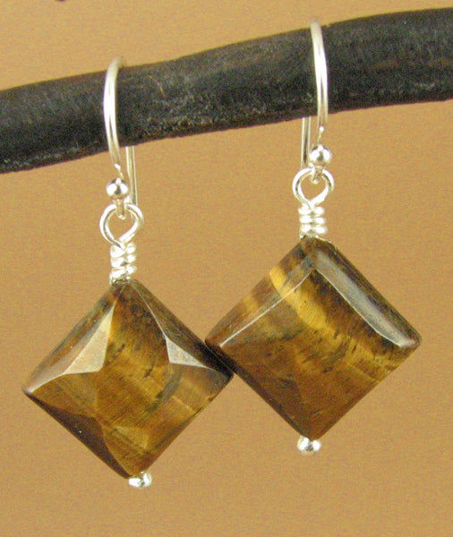 Tigers Eye faceted earrings. Brown. Square. Fire. Sterling silver 925. Handmade