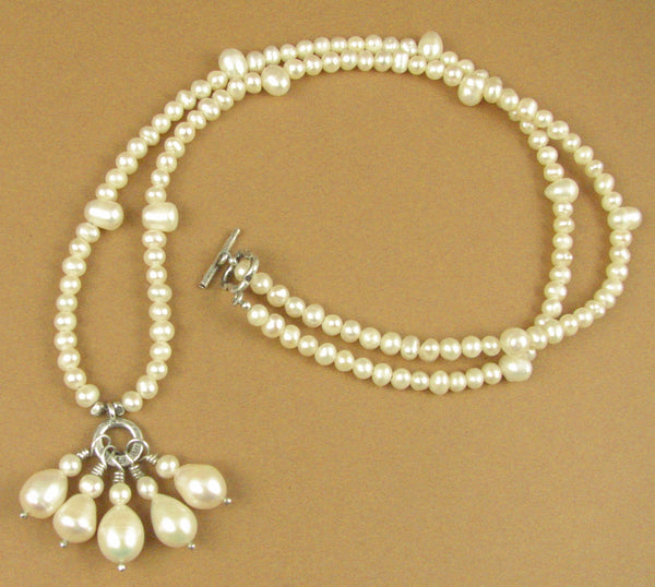 Pearl long necklace with 5 dangles. White. Sterling silver 925. Handmade
