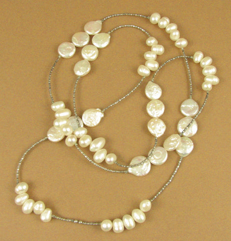 Pearl long necklace. Disc and teardrop. White. Sterling silver 925. Handmade