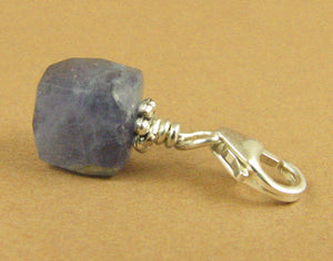 Iolite clip-on charm. Blue-grey stone. Cube. Sterling silver 925. Handmade.