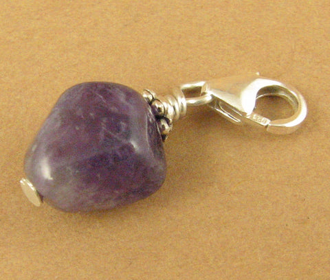 Amethyst clip-on charm/pendant. Nugget. Sterling silver 925. Handmade.