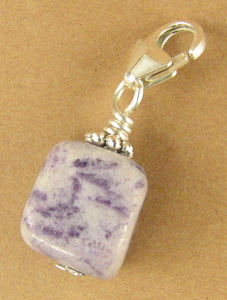 Charoite clip-on charm. Nugget. Lavender/ mauve. Sterling silver 925. Handmade.