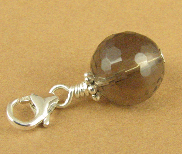 Smoky quartz clip-on charm/pendant. Brown. Sterling silver 925. Handmade.