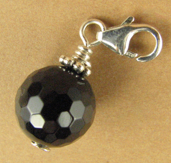 Black agate clip-on charm / pendant. Faceted. Sterling silver 925. Handmade