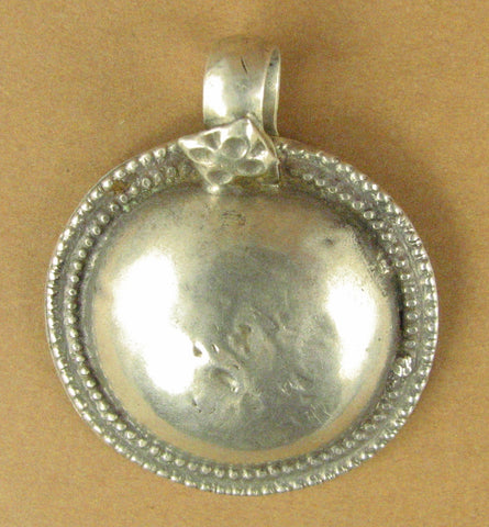 Old Indian Tribal silver pendant. Antique. Large, round. Solid fine silver.
