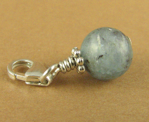 Kyanite clip-on charm. Blue-grey. Internal fire. Sterling silver 925. Handmade