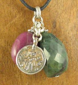 Ruby, emerald, old silver goddess pendant. Sterling silver 925. Handmade