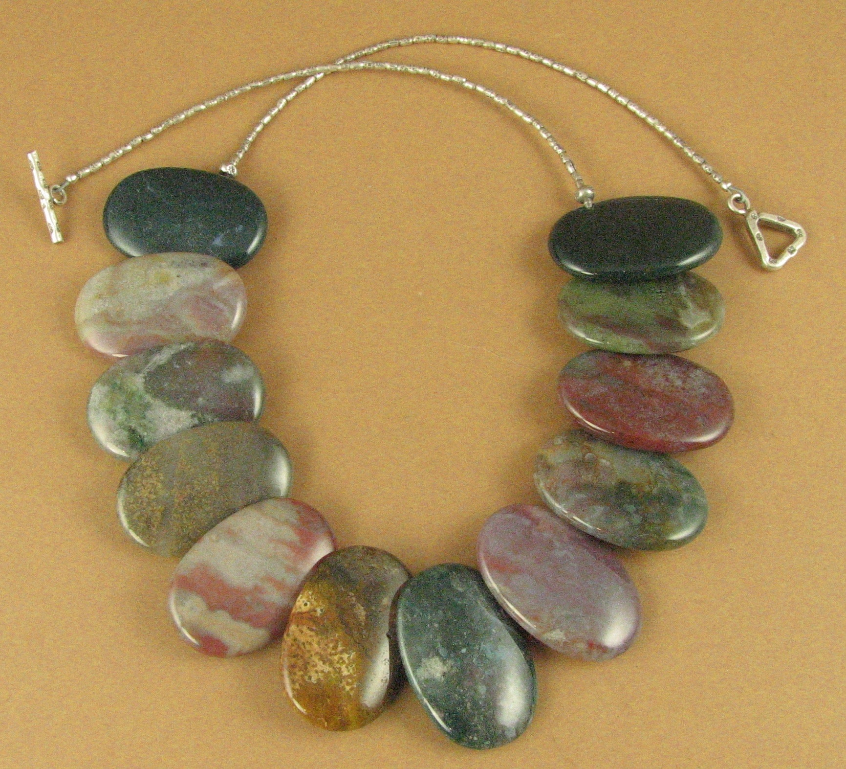 Jasper and silver necklace. Green, brown. Sterling silver 925. Handmade.