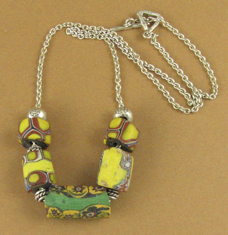 Glass flower bead necklace. Millefiori style. Green yellow. Sterling silver 925.