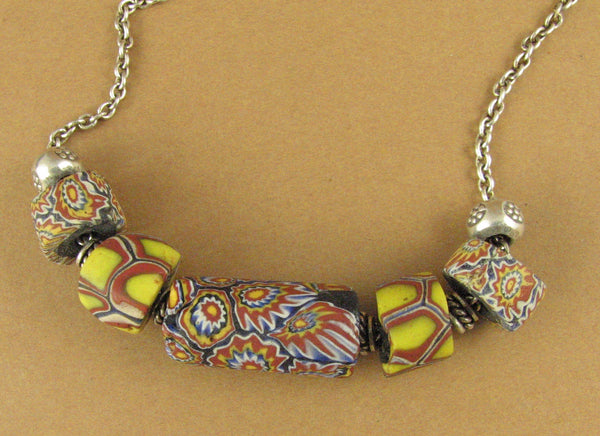 Glass flower bead necklace. Millefiori style. Blue, yellow. Sterling silver 925.