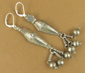 Indian tribal silver earrings. Old/antique. Long. Dangles. Fine silver & 925