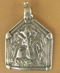 Old /antique Indian Tribal silver pendant. Amulet. Rajasthan. Fine silver.