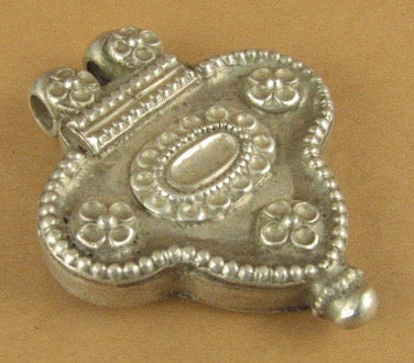 Large Old /Antique Indian Tribal Silver prayer box pendant. Fine silver.