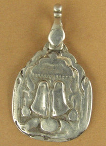 Old /antique Indian Tribal silver pendant. Buddha feet. Rajasthan. Fine silver.