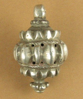 Large Old /Antique Indian Tribal Silver pendant. Chunky Ball. Fine silver.