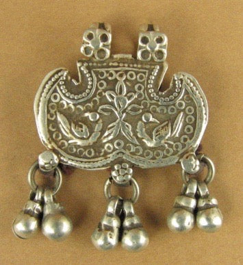 Old /antique Indian Tribal silver prayer box pendant with dangles. Fine silver.