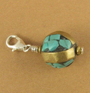 Tibetan mala bead clip-on charm. Turquoise, brass & sterling silver 925.