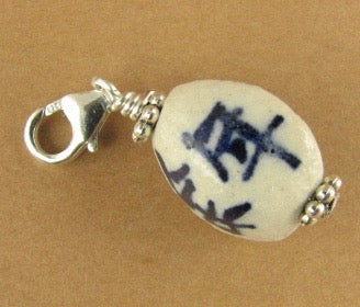Chinese character ceramic bead clip on charm. Sterling silver 925. White, blue.