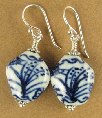 Chinese ceramic bead earrings. Bamboo, plant. Sterling silver 925. White, blue.