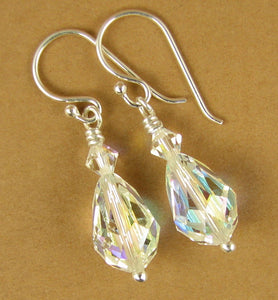 Crystal earrings with swarovski elements. Teardrop. Aurora borealis, rainbow. Sterling silver.